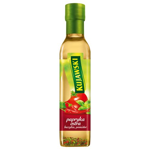 Olej Kujawski smakowy, 250 ml: papryka ostra, bazylia, pomidor